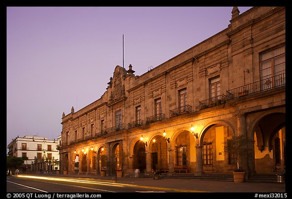 Presidencial Municipal (city hall) at dawn. Guadalajara, Jalisco, Mexico (color)