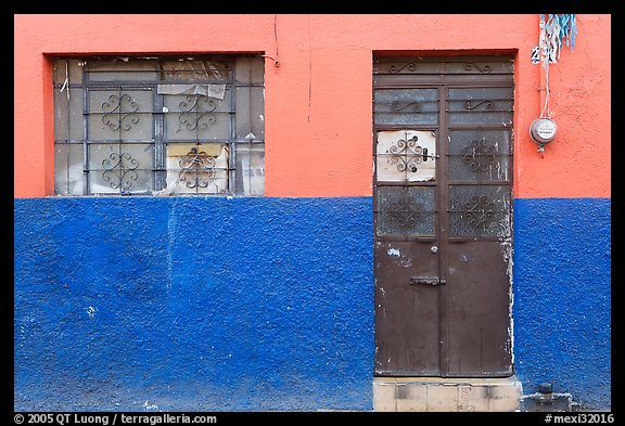 Multicolored wall, window, and door. Guadalajara, Jalisco, Mexico (color)