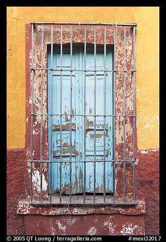 Window and multicolored wall. Guadalajara, Jalisco, Mexico