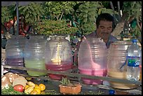 Multicolored drinks offered on a street stand. Guadalajara, Jalisco, Mexico