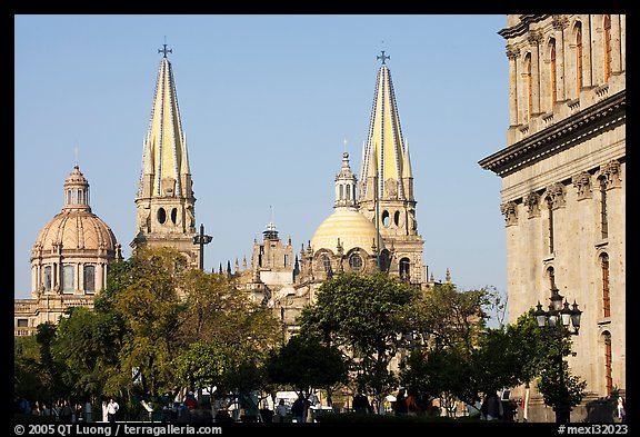 Cathedral seen across Plazza dela Liberacion. Guadalajara, Jalisco, Mexico