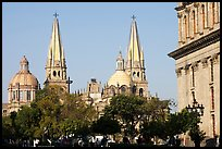 Cathedral seen across Plazza dela Liberacion. Guadalajara, Jalisco, Mexico (color)