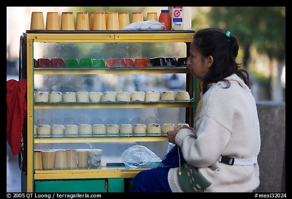 Woman selling dairy desserts on the street. Guadalajara, Jalisco, Mexico