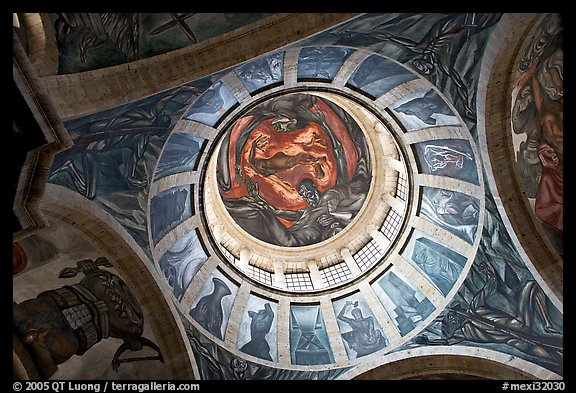 Dome of the chapel of Hospicios de Cabanas featuring The Man of Fire by Jose Clemente Orozco. Guadalajara, Jalisco, Mexico (color)