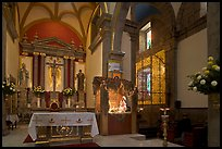 Interior of church with altar and nativity, Tlaquepaque. Jalisco, Mexico