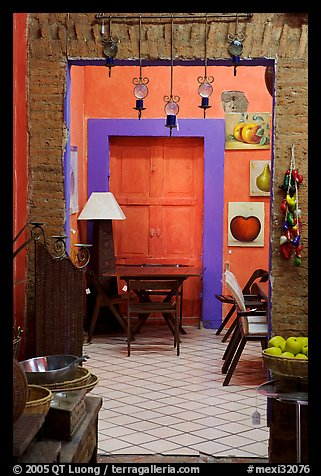 Door in art gallery, Tlaquepaque. Jalisco, Mexico (color)