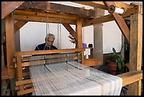 Weaver operating a traditional machine, Tlaquepaque. Jalisco, Mexico ( color)