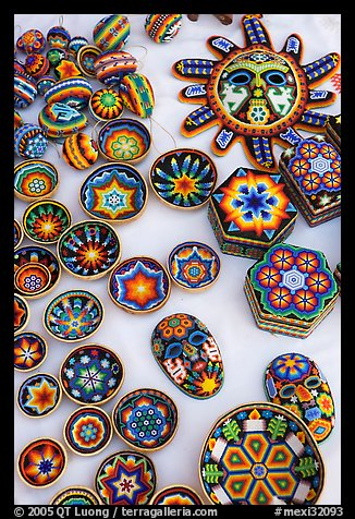 Huichol Indian crafts, Tlaquepaque. Jalisco, Mexico