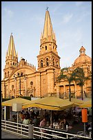 Restaurant and cathedral, late afternoon. Guadalajara, Jalisco, Mexico (color)