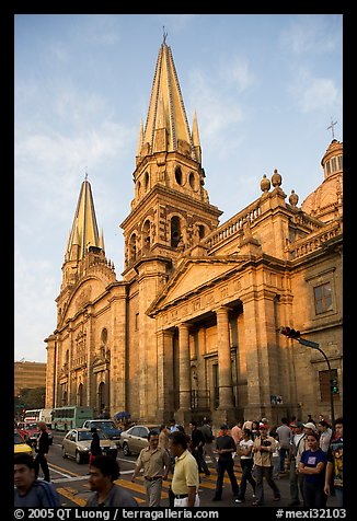 Street crossing and Cathedral, late afternoon. Guadalajara, Jalisco, Mexico (color)