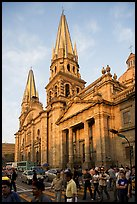 Street crossing and Cathedral, late afternoon. Guadalajara, Jalisco, Mexico ( color)