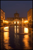 Plaza Tapatia at night with Hospicio Cabanas reflected in basin. Guadalajara, Jalisco, Mexico (color)