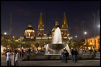 Plaza de la Liberacion with fountain and Cathedral by night. Guadalajara, Jalisco, Mexico