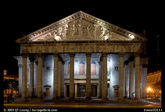 Teatro Degollado by night. Guadalajara, Jalisco, Mexico