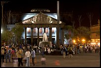 Plaza de la Liberacion with fountain and Teatro Degollado by night. Guadalajara, Jalisco, Mexico