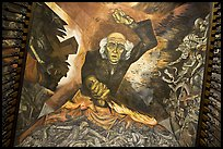 Stairway ceiling with portrait of angry Miguel Hidalgo by  Jose Clemente Orozco. Guadalajara, Jalisco, Mexico ( color)