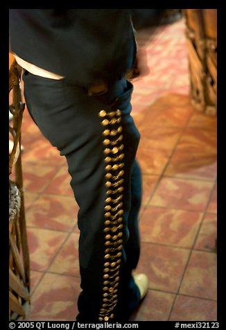 Detail of pants of a mariachi musician , Tlaquepaque. Jalisco, Mexico (color)