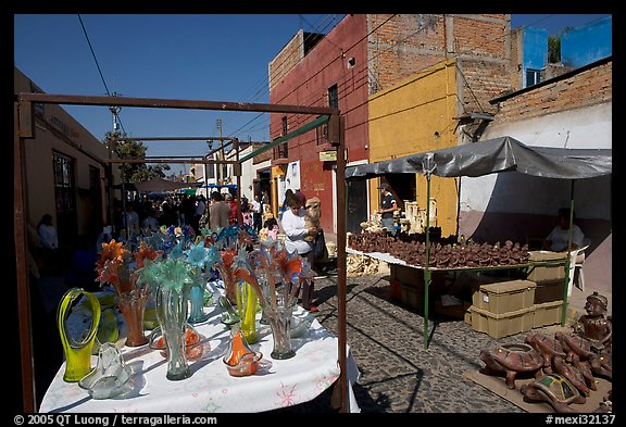 Stands in the sunday town-wide arts and crafts market, Tonala. Jalisco, Mexico (color)