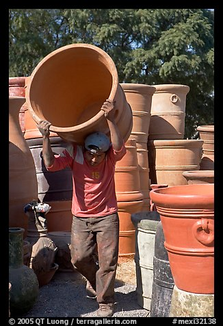 Man carrying a heavy pot, Tonala. Jalisco, Mexico