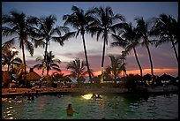 Palm-tree fringed swimming pool at sunset, Nuevo Vallarta, Nayarit. Jalisco, Mexico (color)