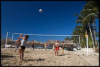 Vacationers playing beach volley-ball, Nuevo Vallarta, Nayarit. Jalisco, Mexico ( color)