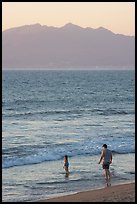 Man and child on the beach at sunset, Nuevo Vallarta, Nayarit. Jalisco, Mexico ( color)