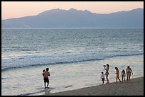 Family on the beach at sunset, Nuevo Vallarta, Nayarit. Jalisco, Mexico