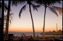 Outdoor dining under palm trees at sunset, Nuevo Vallarta, Nayarit. Jalisco, Mexico (color)