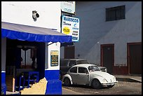 Restaurant at a street corner and Mexico made Wolskwagen bug, Puerto Vallarta, Jalisco. Jalisco, Mexico (color)