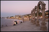 Arches on the Malecon at dusk, Puerto Vallarta, Jalisco. Jalisco, Mexico ( color)