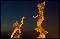 Mermaid statue by night, Puerto Vallarta, Jalisco. Jalisco, Mexico ( color)