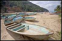 Small boats at a village on the South shore, Jalisco. Jalisco, Mexico ( color)