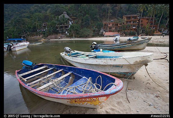 Small boats beached in a lagoon in a village on the South shore, Puerto Vallarta, Jalisco. Jalisco, Mexico