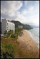 Resort building and beach, Puerto Vallarta, Jalisco. Jalisco, Mexico (color)