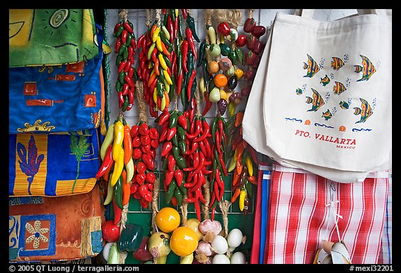 Crafts and bags for sale, Puerto Vallarta, Jalisco. Jalisco, Mexico (color)