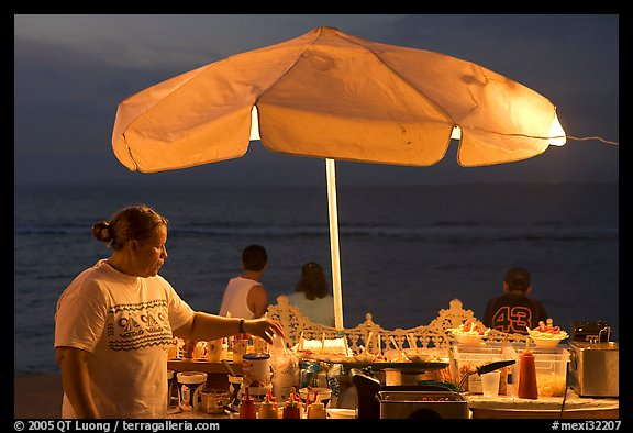 Food vendor on the Malecon at night, Puerto Vallarta, Jalisco. Jalisco, Mexico (color)