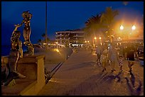 People strolling on the Malecon at night, Puerto Vallarta, Jalisco. Jalisco, Mexico ( color)