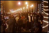 Crowds on the Malecon at night, Puerto Vallarta, Jalisco. Jalisco, Mexico ( color)
