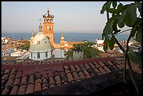 Red-tiled roof and Templo de Guadalupe Cathedral, early morning, Puerto Vallarta, Jalisco. Jalisco, Mexico
