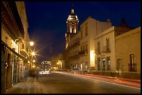 Street by night with light trails. Zacatecas, Mexico (color)