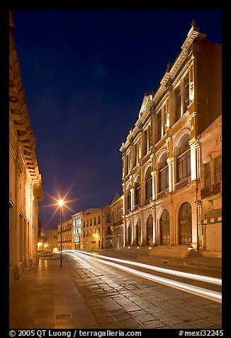 Avenue Hidalgo with Teatro Calderon at night. Zacatecas, Mexico