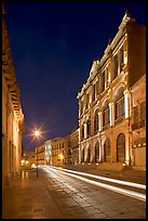 Avenue Hidalgo with Teatro Calderon at night. Zacatecas, Mexico (color)