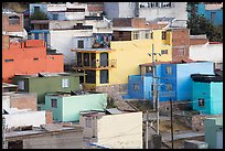 Vividly painted houses on hill. Zacatecas, Mexico (color)