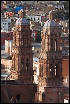 Twin towers of the Cathedral in Churrigueresque style. Zacatecas, Mexico