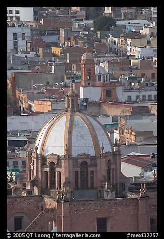 Dome of the Cathedral and rooftops. Zacatecas, Mexico (color)