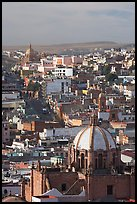 Dome of the Cathedral with Temple of Fatina in the background. Zacatecas, Mexico