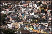 Neighborhood vith colorful houses seen from above. Zacatecas, Mexico