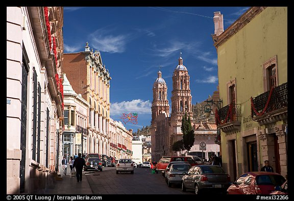 Hidalgo avenue and Cathdedral, morning. Zacatecas, Mexico (color)