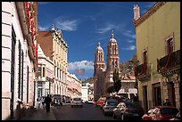 Hidalgo avenue and Cathdedral, morning. Zacatecas, Mexico ( color)