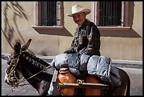 Man riding a donkey. Zacatecas, Mexico (color)